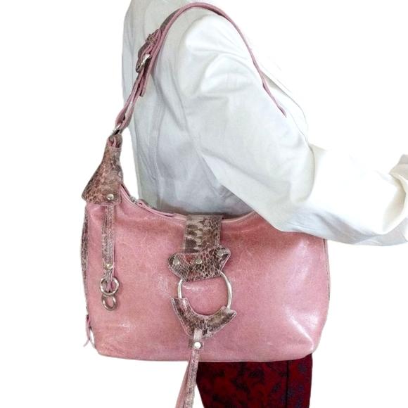 SHARIF STUDIO  PINK LEATHER SHOULDER BAG